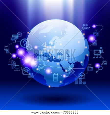 Globe and web icons on bright blue background. World digital communication and technology network