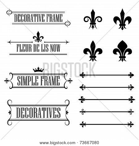 Set of calligraphic flourish design elements - fleur de lis, deviders, frames and borders