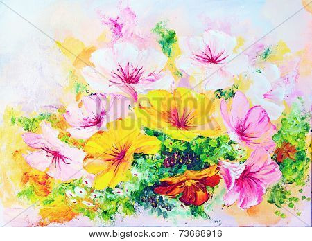 Wildflowers, oil painting on canvas