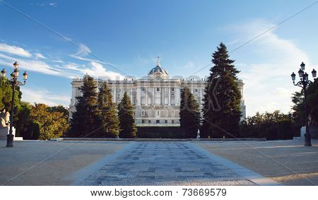 The Madrid Royal Palace and Sabatini garden at the calming sunset.