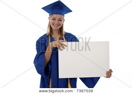 Girl Grad Holding A Blank Sign