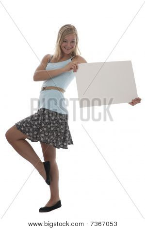 Pretty Teen Girl Holding Blank Sign