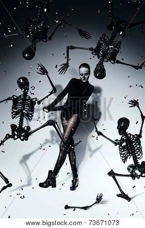 High Scary Woman With Black Skeletons