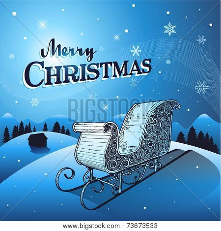 Christmas winter greeting background with santa sleigh