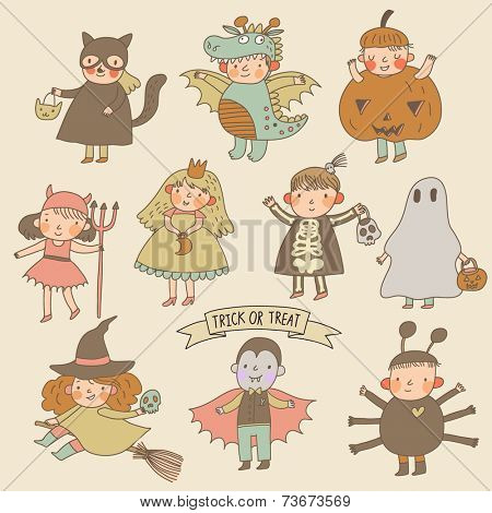 Vintage cartoon children in Halloween costumes: Princess, ghost, pumpkin, spider, dragon, devil, witch, vampire, cat