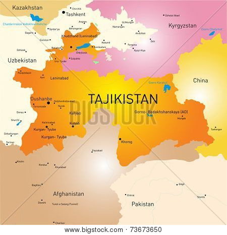 Vector color map of Tajikistan