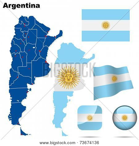 Argentina set. Detailed country shape with region borders, flags and icons isolated on white background.