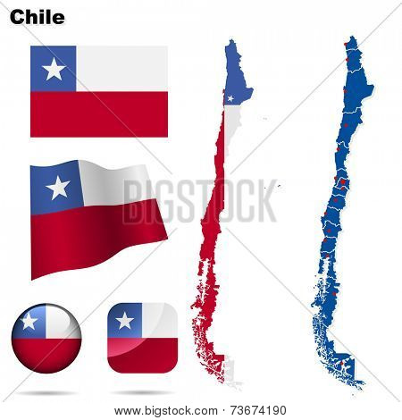 Chile set. Detailed country shape with region borders, flags and icons isolated on white background.