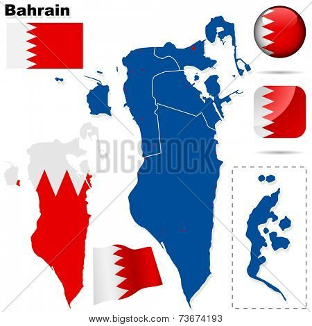 Bahrain set. Detailed country shape with region borders, flags and icons isolated on white background.