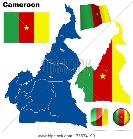 Cameroon set. Detailed country shape with region borders, flags and icons isolated on white background.