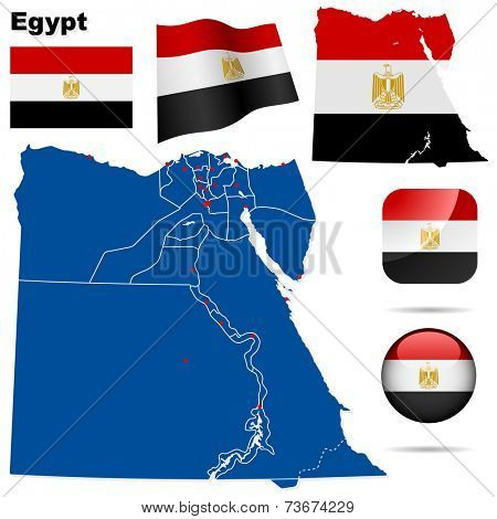 Egypt set. Detailed country shape with region borders, flags and icons isolated on white background.