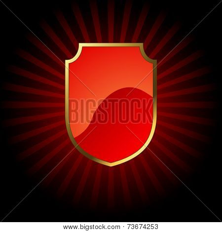 Decorative red glossy shield  with golden frame.
