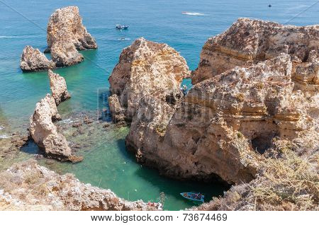 Ponta Da Piedade, Rock Formations Near Lagos In Portugal