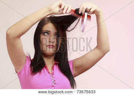 Childish Woman Infantile Girl Combing Hair. Longing For Childhood.