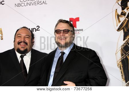 LOS ANGELES - OCT 10:  Jorge R Gutierrez, Guillermo del Toro at the 2014 NCLR ALMA Awards Arrivals at Civic Auditorium on October 10, 2014 in Pasadena, CA