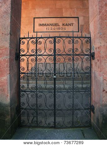 Kaliningrad, Russua - October 3, 2014: Tomb of the famous German philosopher Immanuel Kant in Kenigsberg cathedral