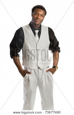 Young African American Business Man Hand Gesture, Wear Formal Dress, White Tie Smiling Isolated on White Background