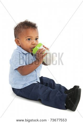 African American Baby Boy Drinking Milk Bottle on Isolated White Background