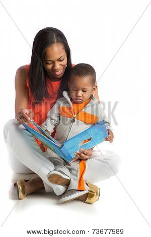 Smiling African American Mother and Baby Boy Reading Book Together on Isolated White background