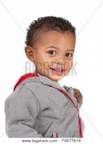 Two Years Old Adorable African American Boy Wearing Sweater Portrait on Isolated White Background