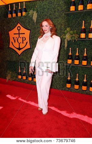 LOS ANGELES - OCT 11:  Christina Hendricks at the Fifth-Annual Veuve Clicquot Polo Classic at Will Rogers State Historic Park on October 11, 2014 in Pacific Palisades, CA