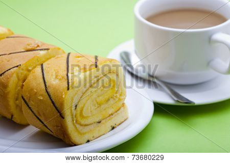 roll cakes and coffee