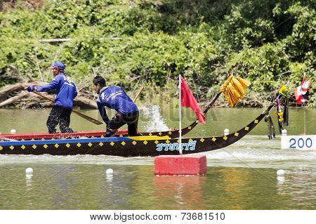 Saraburi, Thailand - September 29 : Unidentified Crew In Traditional Thai Long Boats Compete During