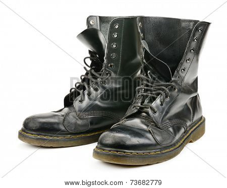 worn boots isolated on white background