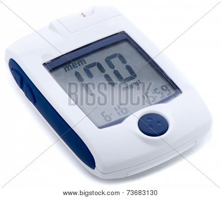 Self monitoring blood glucose device isolated on white background.