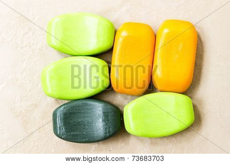 A closeup of bathing soaps made from natural extracts like neem, aloe-vera, turmeric and sandalwood