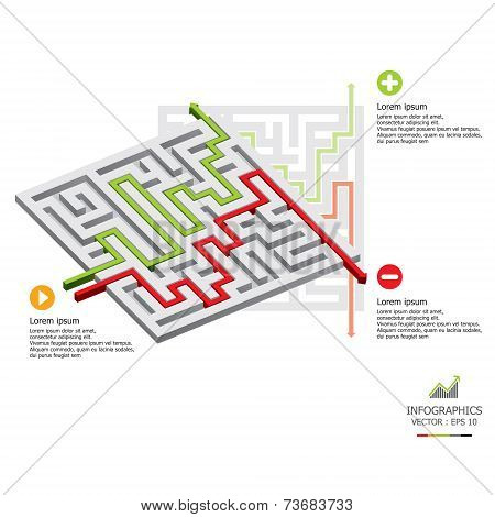 Modern Arrow Maze Business Infographic