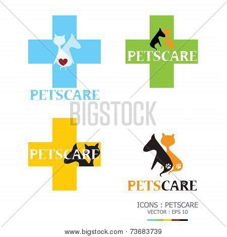 Dog And Cat Petscare Icon Set Design