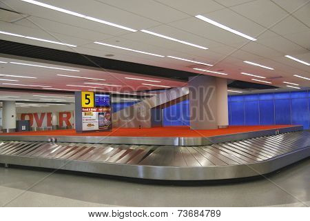 Baggage carousel in JetBlue Terminal 5 at JFK International Airport in New York