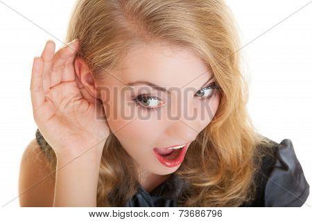 Blonde Surprised Gossip Girl With Hand Behind Ear Listening Secret