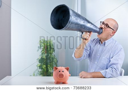 Man Megaphone And Pig Mean Savings