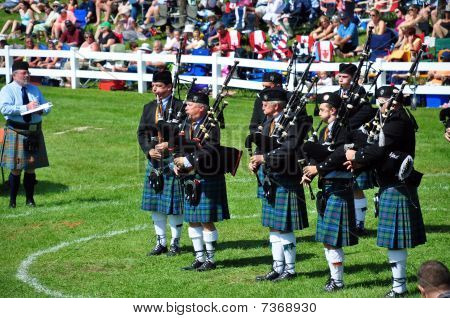 Bagpipe band at Highland Games in Ontario