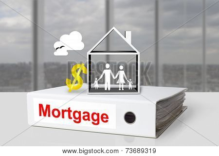 Office Binder Mortgage House Dollar Symbol