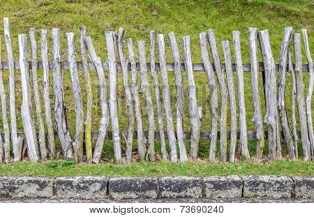 Old Wood Fence In Green Field, Countryside In New Zealand.