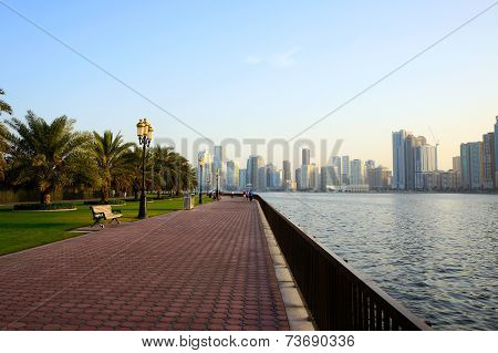Sharjah, United Arab Emirates - April 21: view of the city at sunset with the Sharjah