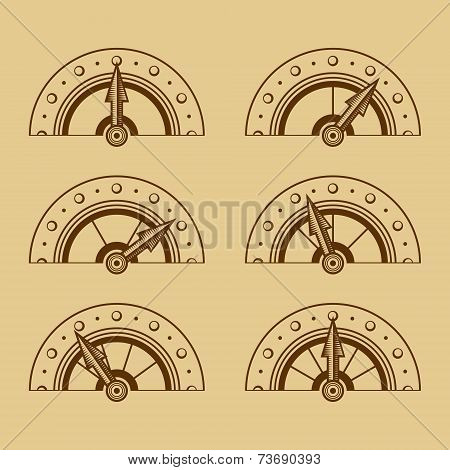 Set of Indicators in Retro Style. Vector