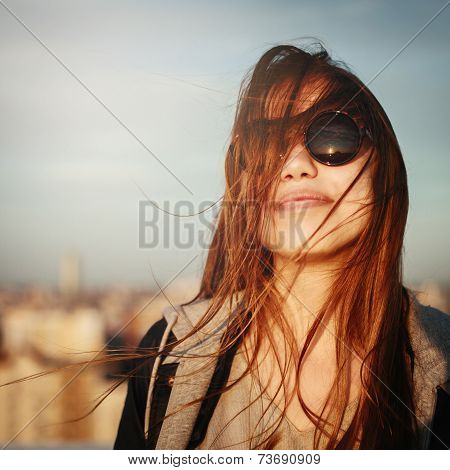 Fashion Portrait Of Young Woman In Sunglasses