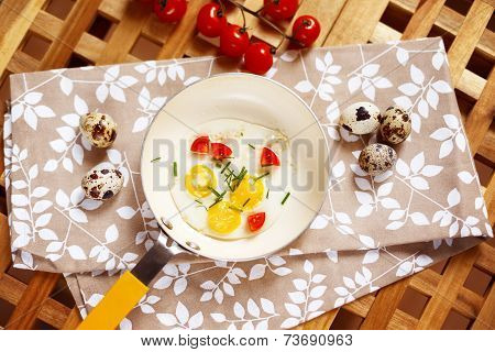 Breakfast Table With Fried Eggs Pan