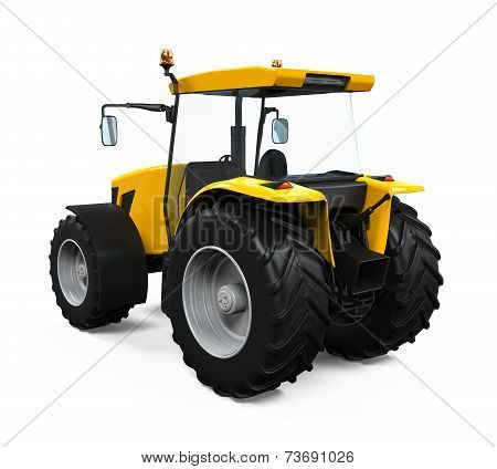 Yellow Tractor Isolated