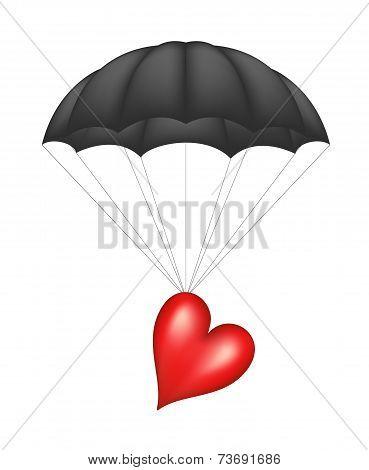 Heart at black parachute