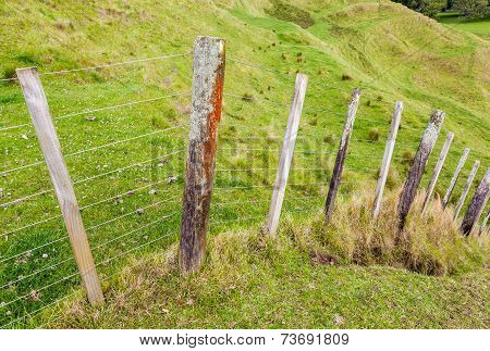Fence In Field And Mountain View Background.
