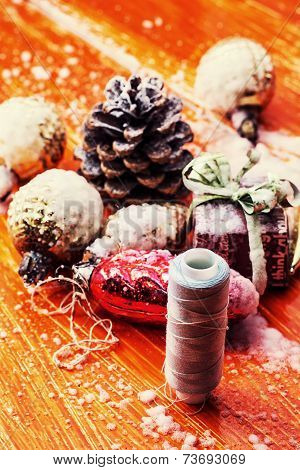 symbolic Christmas toys for the holiday spruce