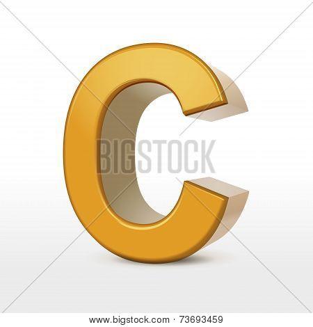 Golden 3D Alphabet C