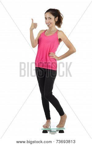 Happy Healthy Weight Loss Woman Thumb Up