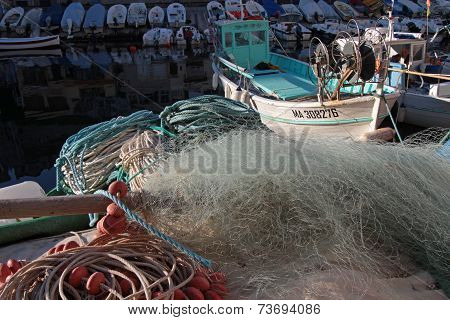 Marseille, France, October 3, 2014 : Fishemen Boats In A Small Harbor. The