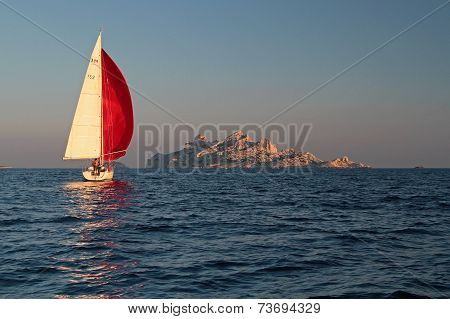 Marseille, France, October 3, 2014 : A Yacht Sails In Calanqies. The Newly Declared Calanques Nation